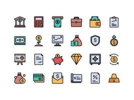 Finance and Accounting Lineal Color Icon Set vector