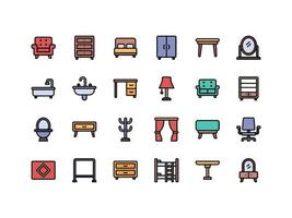 Furniture and Household Items Lineal Color Icon Set vector