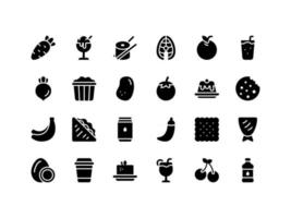 Food and Drinks Glyph Icon Set vector