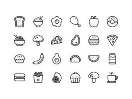 Food and Drinks Outline Icon Set vector