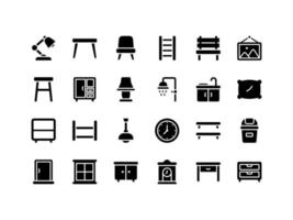 Furniture and Household Items Glyph Icon Set vector