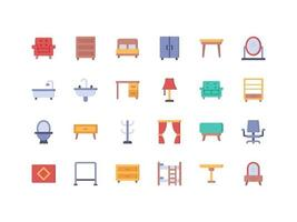 Furniture and Household Items Flat Icon Set vector