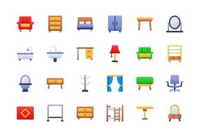 Furniture and Household Items Gradient Icon Set vector