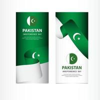 Pakistan Independence Day Celebration, banner set Design Vector Template Illustration