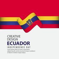 celebración del día de la independencia de ecuador plantilla de vector de ilustración de diseño creativo