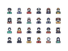 User Avatar Lineal Color Icon Set vector