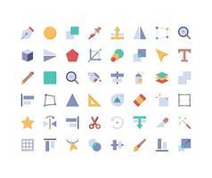 Design Tools Flat Icon Set vector