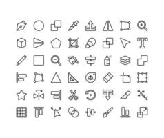 Design Tools Outline Icon Set vector