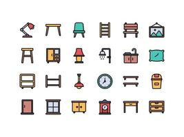 Furniture and Household Items Lineal ColorIcon Set vector