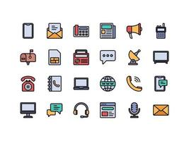 Communication Devices Lineal Color Icon Set vector