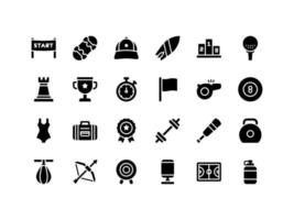 Sports and Fitness Glyph Icon Set vector