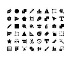 Design Tools Glyph Icon Set vector