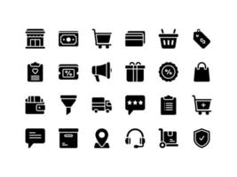 E-commerce and Shopping Glyph Icon Set vector