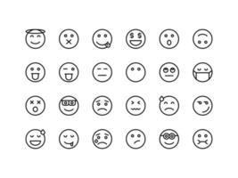 Emoticon and Emoji Outline Icon Set vector