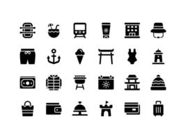 Vacation and Travel Glyph Icon Set vector
