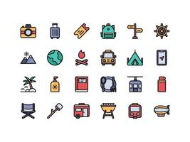 Vacation and Travel Lineal Color Icon Set vector