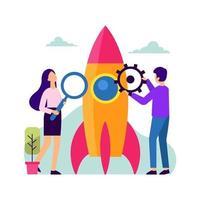 Building a Start-up Business Vector Illustration