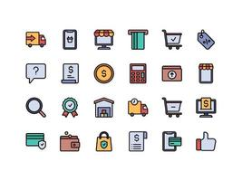 E-commerce and Shopping Lineal Color Icon Set vector