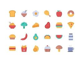 Food and Drinks Flat Icon Set vector