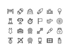 Sports and Fitness Outline Icon Set vector