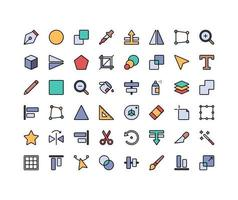 Design Tools Lineal Color Icon Set vector