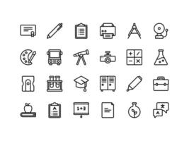 School and Education Outline Icon Set vector