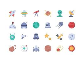 Space Objects Flat Icon Set vector