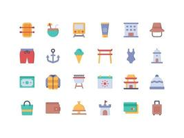 Vacation and Travel Flat Icon Set vector