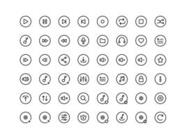 Music Player Buttons Outline Icon Set vector