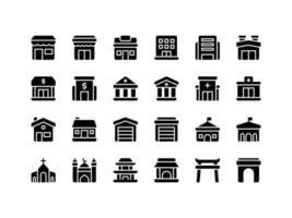 Building and Landmark Glyph Icon Set vector