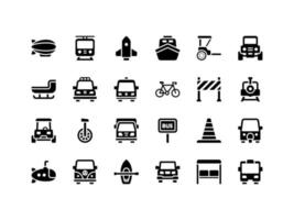 Transportation and Vehicles Glyph Icon Set vector