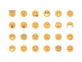 Emoticon and Emoji Flat Icon Set vector