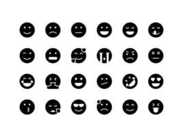 Emoticon and Emoji Glyph Icon Set vector