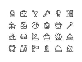 Vacation and Travel Outline Icon Set vector