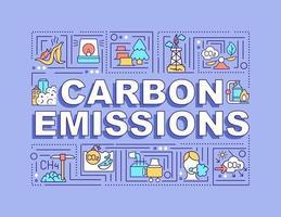 Bandera de conceptos de palabra de emisiones de carbono. liberación de co2. calentamiento global. infografías con iconos lineales sobre fondo morado. tipografía creativa aislada. ilustración de color de contorno vectorial con texto vector