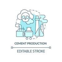 Cement production concept icon. Human carbon emission abstract idea thin line illustration. Manufacturing process. Construction ingredient. Vector isolated outline color drawing. Editable stroke