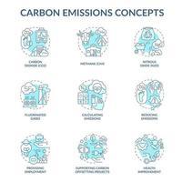 Conjunto de iconos de concepto de emisiones de carbono. ilustraciones en color de línea fina de idea de cambio climático. apoyar proyectos de compensación de co2. dióxido de carbono. dibujos de contorno aislados vectoriales. trazo editable vector