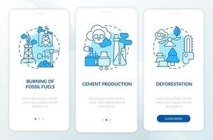 Anthropogenic carbon emissions onboarding mobile app page screen with concepts. Cement production walkthrough 3 steps graphic instructions. UI, UX, GUI vector template with linear color illustrations