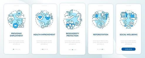 beneficios de compensación de carbono incorporando la pantalla de la página de la aplicación móvil con conceptos. Tutorial de protección de la biodiversidad Instrucciones gráficas de 5 pasos. ui, ux, plantilla de vector de interfaz gráfica de usuario con ilustraciones en color lineal