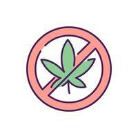 No cannabis RGB color icon vector