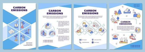 Plantilla de folleto de emisiones de carbono. gases de efecto invernadero causados por el hombre. folleto, folleto, impresión de folletos, diseño de portada con iconos lineales. diseños vectoriales para presentaciones, informes anuales, páginas publicitarias vector