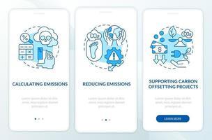 Pasos de compensación de carbono incorporando la pantalla de la página de la aplicación móvil con conceptos. Tutorial de reducción de emisiones Instrucciones gráficas de 3 pasos. ui, ux, plantilla de vector de interfaz gráfica de usuario con ilustraciones en color lineal