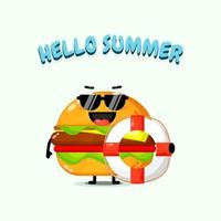 Burger mascot carrying a float with summer greetings vector