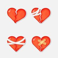 Broken heart with bandage icon set vector