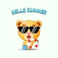 Cute bear carrying a float with summer greetings vector