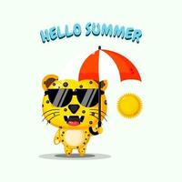 Cute leopard mascot carrying umbrella with summer greetings vector