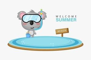 Cute koala swimming on the beach with summer greetings vector