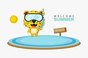 Cute leopard swimming on the beach with summer greetings vector