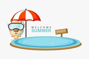 Deer mascot swimming on the beach in summer vector