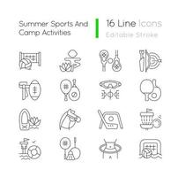 Summer sports and camp activities linear icons set. Beach volleyball. Kids yoga. Flag football. Customizable thin line contour symbols. Isolated vector outline illustrations. Editable stroke